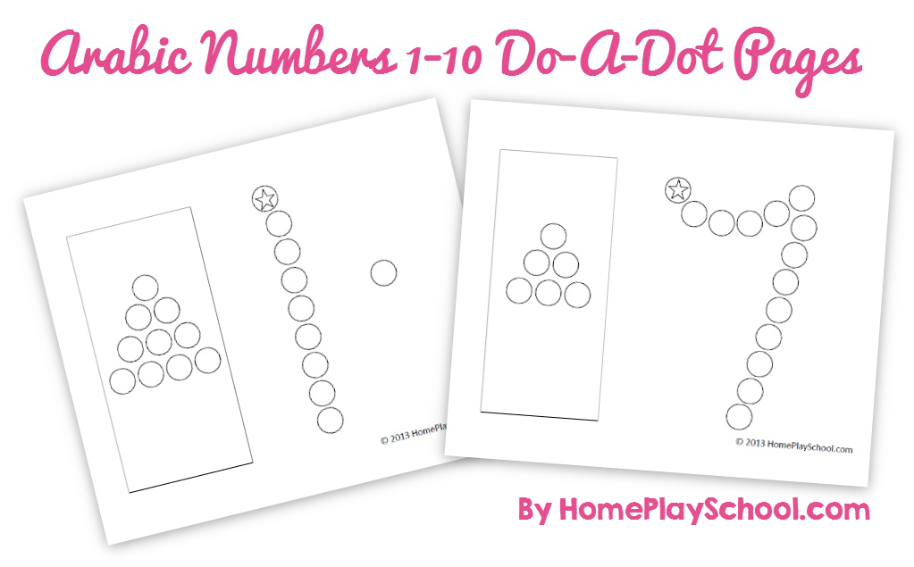 Free Printable: Arabic Numbers 1-10 Do-a-Dot Pages (١ To ١٠