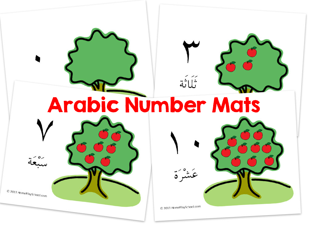 Free Printable: Arabic Number Mats