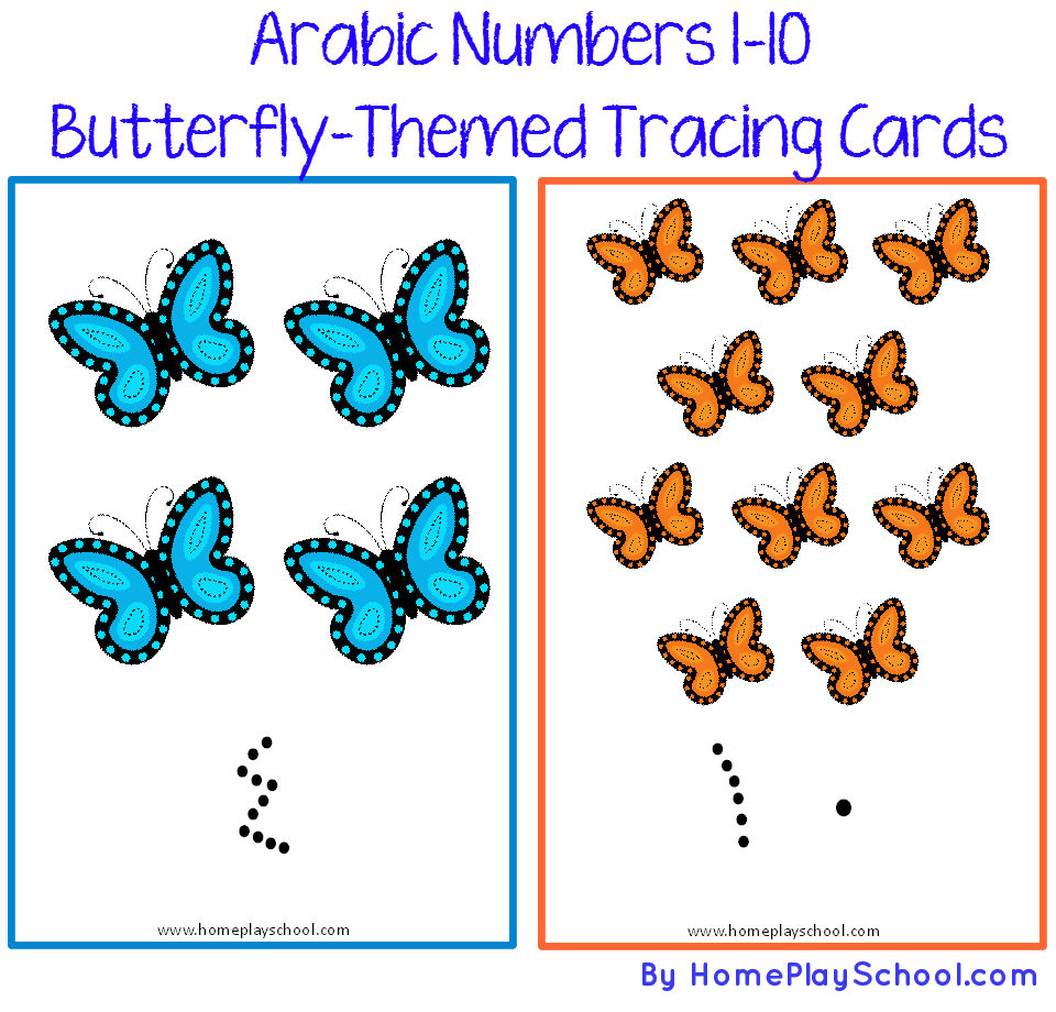 Arabic Numbers 1-10 Butterfly-Themed Tracing Cards